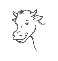 smiling cow vector image vector image