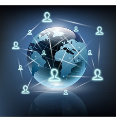 social network around the planet earth vector image vector image