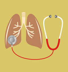 stethoscope checking on lung vector image