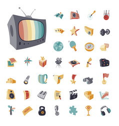 vintage icons set for entertainment vector image vector image