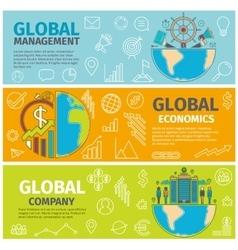 Banners global management economics company vector image
