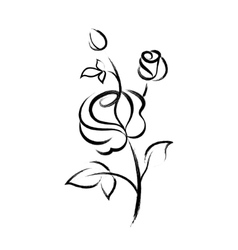 Black hand drawn rose isolated on white background vector image vector image