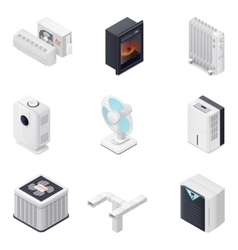 Home climate equipment isometric icon set vector image
