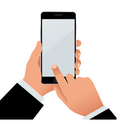 male hand holding a phone with blank screen flat vector image vector image