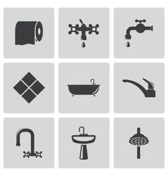 black bathroom icons set vector image