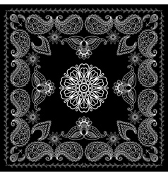 Henna style black and white bandana print vector