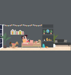kid room interior in dark vector image vector image