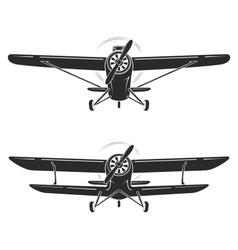 Old retro vintage airplanes emblem icon label vector image