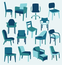 Set icons of chairs interior furniture collection vector image vector image