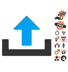 Upload icon with love bonus vector