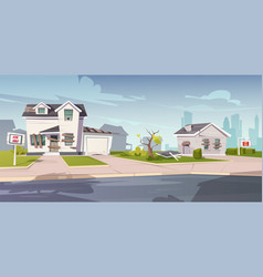 Abandoned houses for sale neglected cottages vector