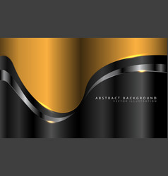 Abstract gold curve with silver line on dark grey vector
