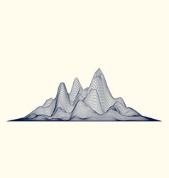 Abstract wireframe mountains cyberspace grid vector