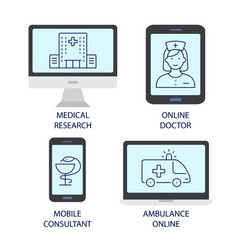 ambulance online flat icons vector image