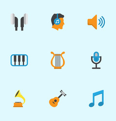 audio flat icons set collection of pianoforte vector image