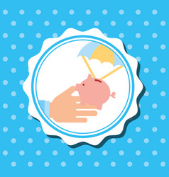 Badge hand holding piggy bank in parachute vector