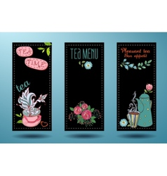 Banners with cups teapots and tea tea card vector