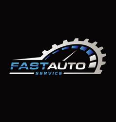 blue silver auto repair logo symbol vector image