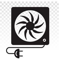 Box fan desk fan with power plugs - flat icon vector