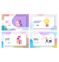 Brand awareness campaign landing page template set vector