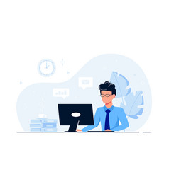 business man or company worker at desk with vector image