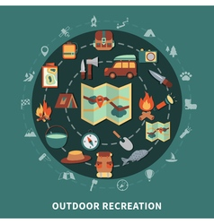 Camping flat composition vector