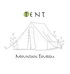 camping tent for tourism sketch for your design vector image