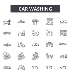 car washing line icons signs set outline vector image