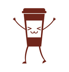 Coffee plastic cup kawaii character vector
