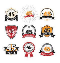 collection of retro 45 th years anniversary logo vector image