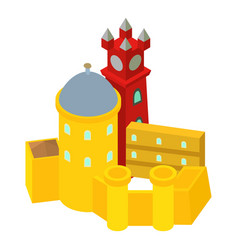 Colored castle icon isometric style vector