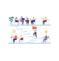 coworking space concept coworkers characters vector image