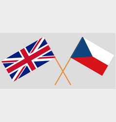 Crossed flags of czech republic and uk vector