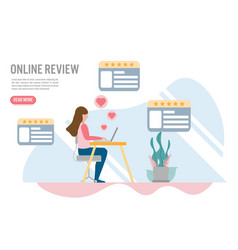 customer review online concepts with vector image