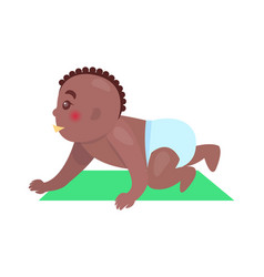 cute little baby with brown skin colorful banner vector image