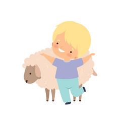 Cute smiling boy hugging sheep kid interacting vector