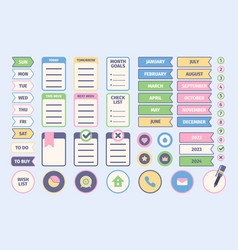daily planner stickers notebook diary papers vector image