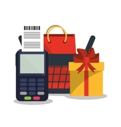 Dataphone and shopping online design vector