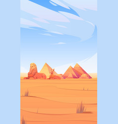 egyptian desert with pyramids sphinx and anubis vector image