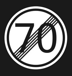 End maximum speed limit 70 sign flat icon vector