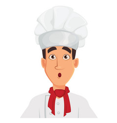 face expression of chef man surprised vector image