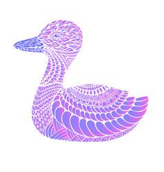 fantasy ornament duck neon color vintag vector image