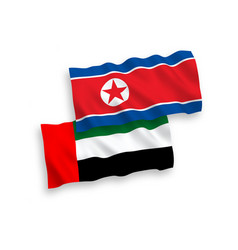 Flags north korea and united arab emirates on a vector
