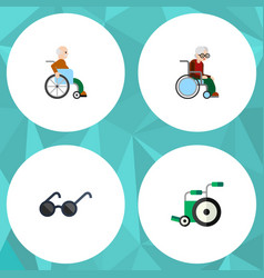 Flat icon disabled set of spectacles wheelchair vector
