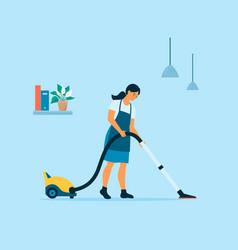 Flat style a cartoon girl vacuums the vector
