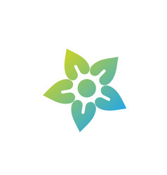 flower and sun icon colorful logo healthy vector image