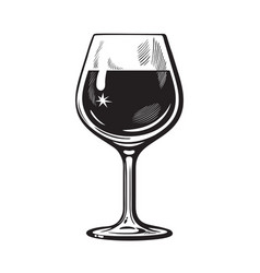 Glass wine in vintage engraving style vector