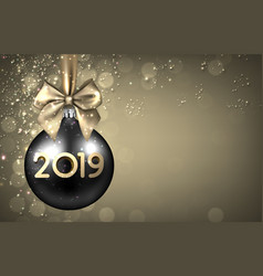 gold 2019 new year background with black christmas vector image