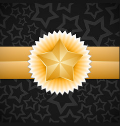 Gold star label vector image