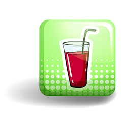 Green square badge with a drink vector